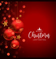 beautiful merry christmas red festival card with vector image vector image