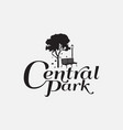 black and white central park logo design template vector image