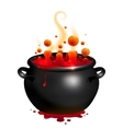 Black cauldron with red witches potion vector image vector image