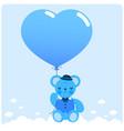 blue teddy bear and balloon vector image vector image