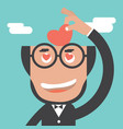 businessman keeps heart in bald head vector image vector image