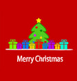 cartoon christmas tree and colourful gift boxes vector image