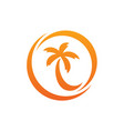 coconut or palm tree circle logo vector image