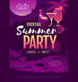 colorful summer cocktail disco party poster vector image vector image