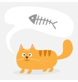 Cute cartoon red cat and talk think bubble fish vector image