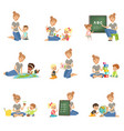cute little boys and girls playing and studying vector image vector image