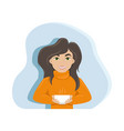 cute woman with a cup coffee in her hands vector image vector image