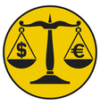 dollar and euro on balance vector image vector image