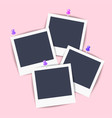 empty polaroid pictures pinned to the wall vector image