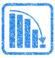 falling acceleration chart framed stamp vector image vector image