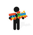 figure man holds childrens color toy train with vector image vector image