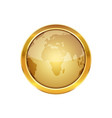 golden button with globe vector image vector image