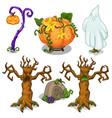 halloween symbols tree pumpkin ghost grave vector image vector image
