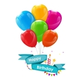 Happy Birthday Card Template with Balloons Ribbon vector image vector image