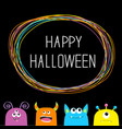 happy halloween colorful monster silhouette head vector image