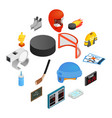 hockey isometric 3d icons set vector image vector image