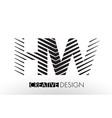 hw h w lines letter design with creative elegant vector image vector image