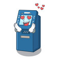 in love atm machine next to character table vector image vector image