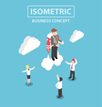 Isometric businessman flying with a jetpack vector image vector image