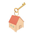 Keychain in the form of log houses and red roof vector image vector image