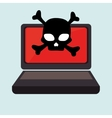 Laptop computer with skull isolated icon design