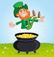 Leprechaun and his pot of Gold vector image vector image
