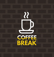 Line Art Icon Design Coffee Cup Icon with Text vector image