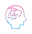 line silhouette man inside puzzles pieces design vector image vector image