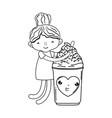 little girl with ice cream kawaii character vector image vector image