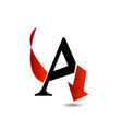 Logo abstract letter A with red arrow vector image vector image