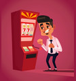 man character play in slot machine vector image vector image