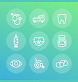 medical icons set in linear style vector image