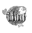mysterious forest with flying whale vector image vector image