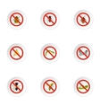No insects icons set flat style vector image