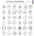 Office stationery line red color line vector image vector image
