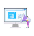 online shopping and marketing strategies website vector image