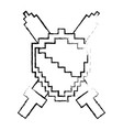 pixelated shield and swords video game vector image vector image
