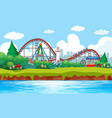 scene background design with roller coaster at vector image vector image