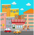 Scene of buildings along the road vector image vector image