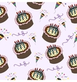 seamless pattern with cake celebration dessert vector image vector image