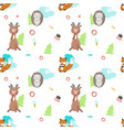 seamless pattern with cute eating animals vector image vector image