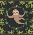 sloth in the jungle scene vector image vector image