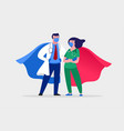 super doctor and nurse wearing medical masks and vector image vector image