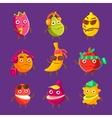 Tropical Fruit Cool Cartoon Characters On Vacation vector image vector image