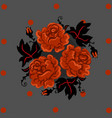 vintage orange roses and black leafes in circle vector image vector image