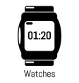 watches icon simple black style vector image vector image