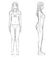 woman body front and side view in outline vector image vector image