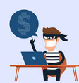 thief hacker stealing sensitive data as passwords vector image