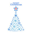 christmas tree snowflakes with star shape on top vector image
