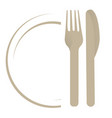 dish with fork an knife vector image